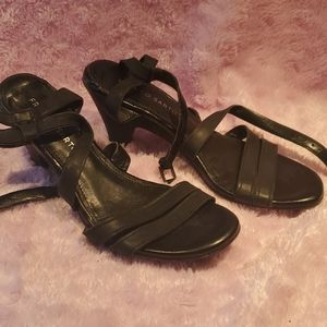 Black strappy sandals real leather NWOT